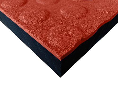 Płyty polietylenowe lite, struktura antypoślizgowa button czerwony