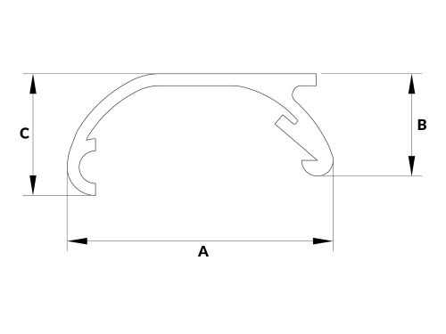 Profil aluminiowy do ramek zatrzaskowych górny A-6074 ('A')