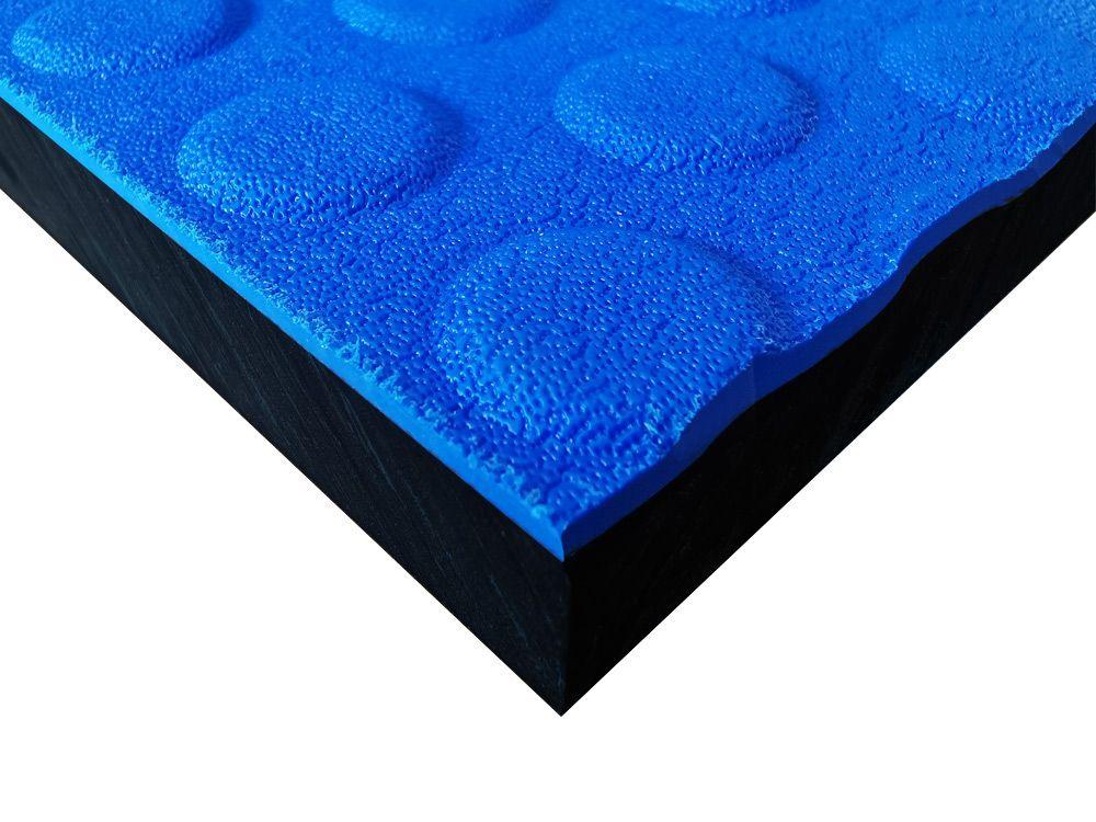 Płyty polietylenowe lite, struktura antypoślizgowa button niebieski