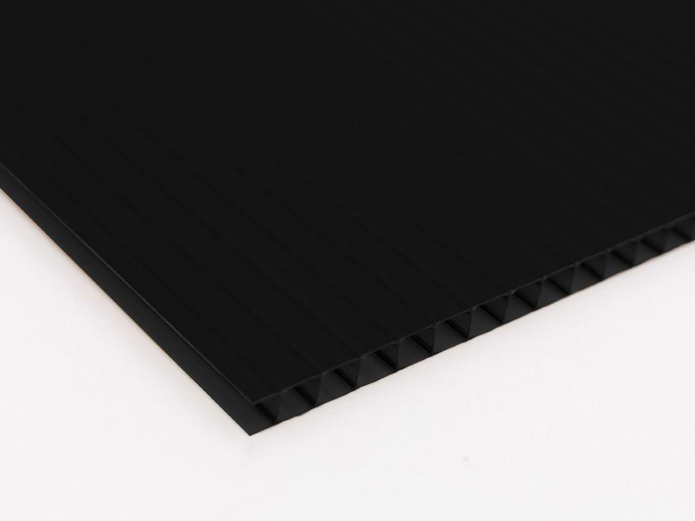 Płyty polipropylenowe PP kanalikowy grubość 2 mm, kolor czarny