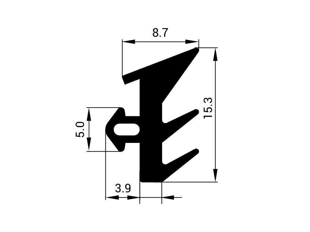 Uszczelka EPDM do profilu górnego S-229