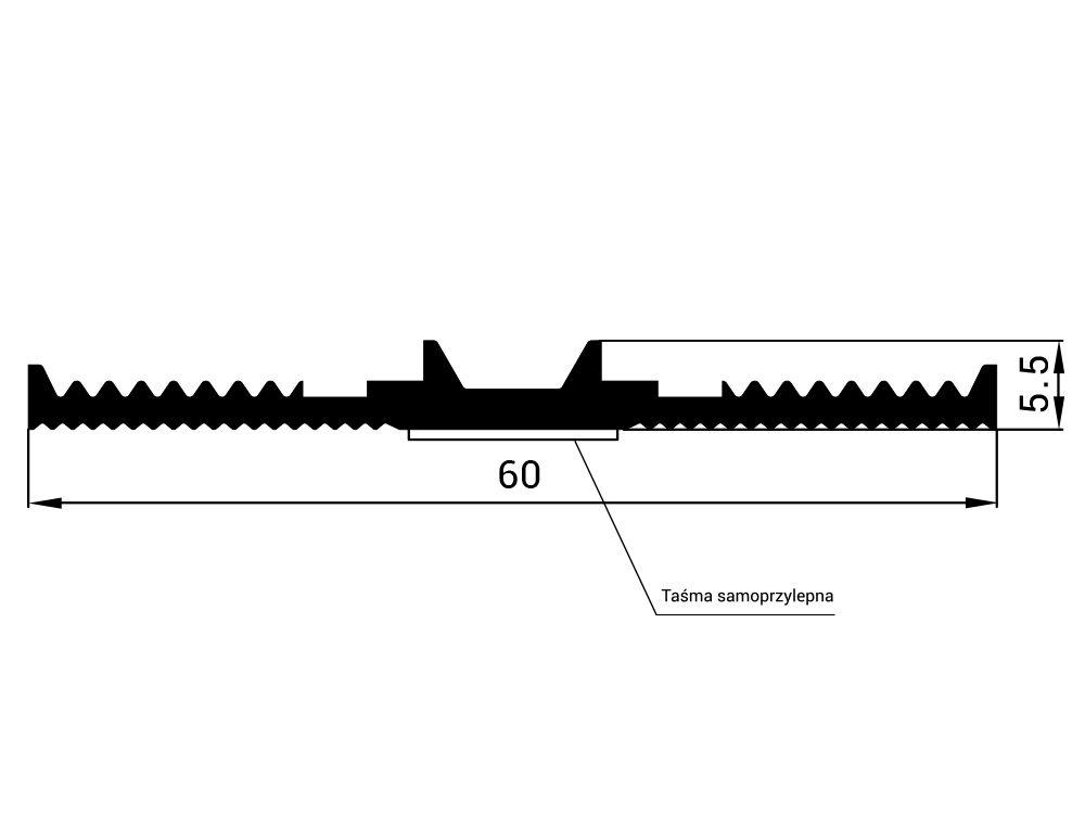 Uszczelka EPDM dolna samoprzylepna SD-12, szer. 60 mm