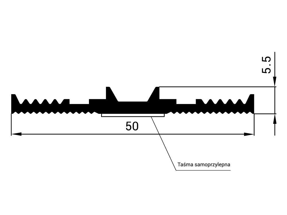 Uszczelka EPDM dolna samoprzylepna SD-13, szer. 50 mm